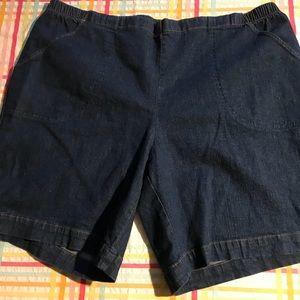 Elastic waist denim shorts